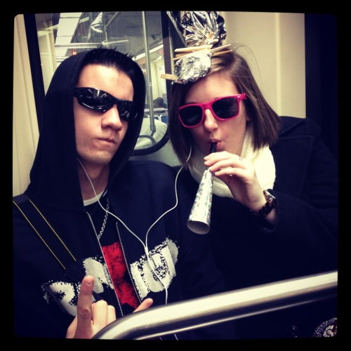 Gerard and Erin riding the Subway New Year's Day 2012