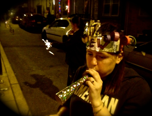 Jenny blowing her horn on new Year's 2011-2012